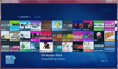 34 netradio stations i Windows Media Center